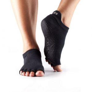 Half Toe Low Rise Grip Socks Black